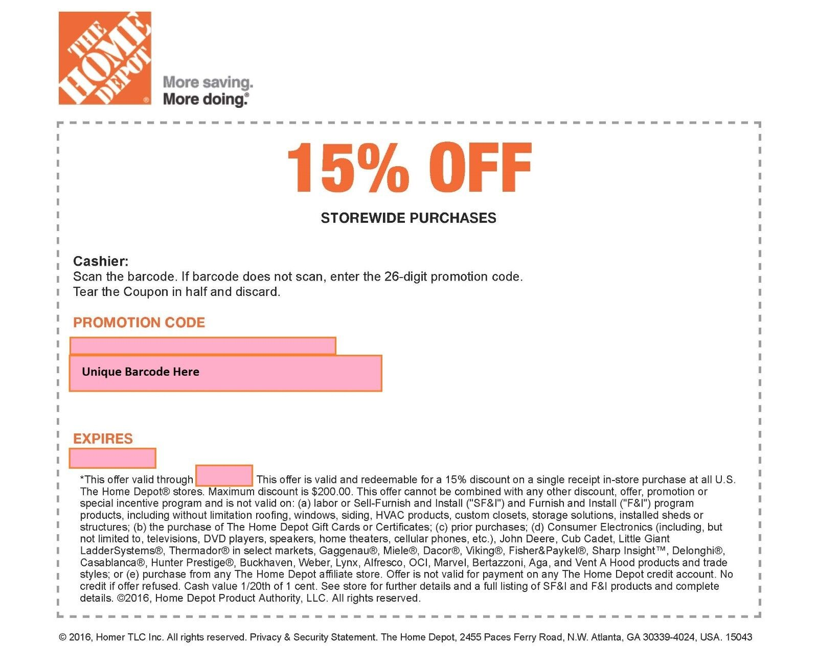 Купить ONE 1x Home Depot 15% Off-1coupon- In Store Only -saving 200$ max-Fast----------