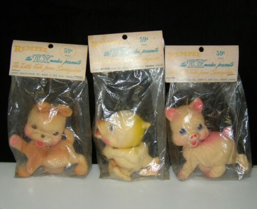 (3) 1950`s REMPEL LATEX SQUEAKY SQUEEZE TOY DOG DUCK & PIG BAGGED RUBBER DUCKY