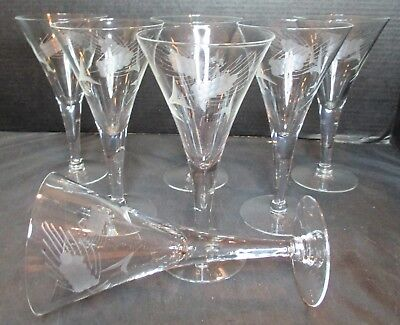 "Crystal 7 Martini Glasses Etched Grapes 7 3/8"" Tall"