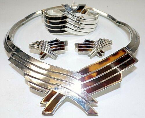 NECKLACE BRACELET & EARRINGS SET STERLING SILVER TAXCO MEXICO FAUX TORTOISE 286g