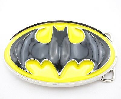 Batman Logo Belt Buckle - Batman Logo Licensed Black/Yellow Metal Belt Buckle