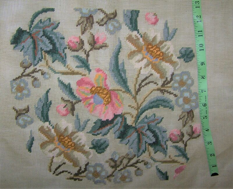 """Unfinished Needlepoint Chair Cushion Cover Floral Leaf 13"""" on 25"""" Canvas"""