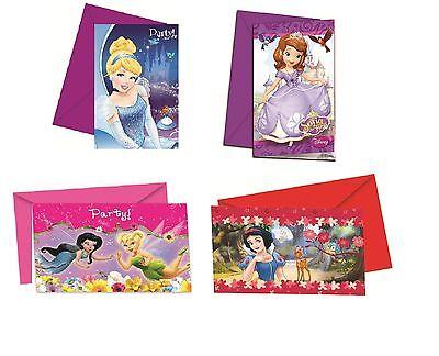 Disney Prinzessinnen - 6 Party Einladungen (mit Umschlägen) (Kinder/Geburtstag)
