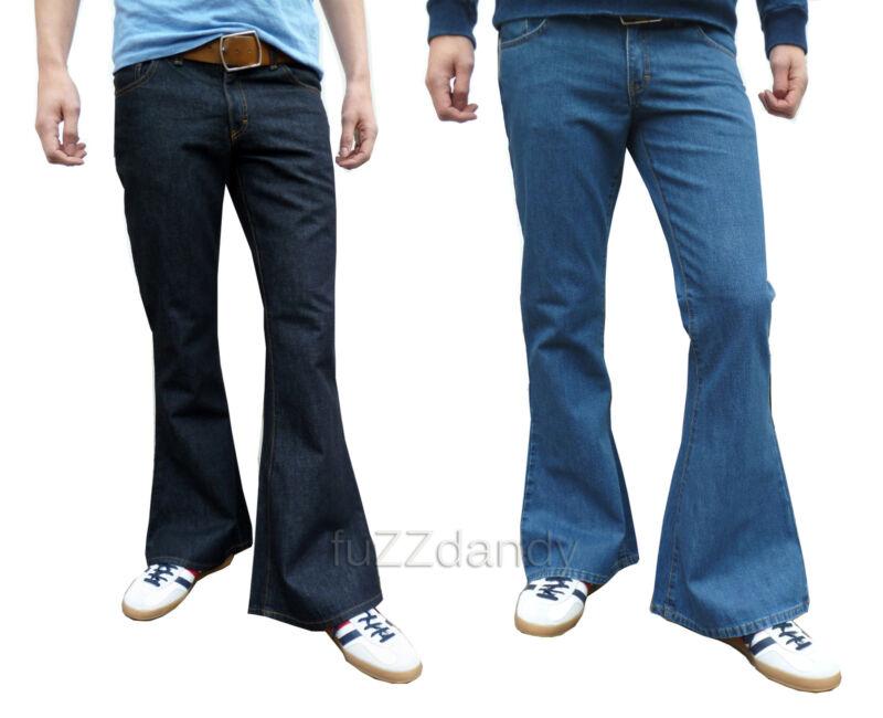 Indigo & Stonewash mens denim bell bottom flares jeans vtg 30 32 34 36 38 40