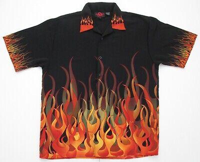 "Vintage Auth 'Flaming' Hawaiian Shirt  50""-127cm XL (363H)"