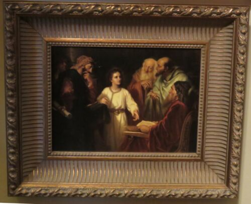 """Oil Painting Canvas Young """"Jesus Studies w The Scribes Framed Ornate Wood 24x20"""