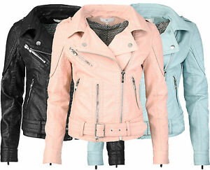 femmes blouson motard en simili cuir avec ceinture veste cuir vintage style ebay. Black Bedroom Furniture Sets. Home Design Ideas