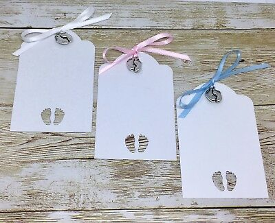 Baby Shower card TAGS gift labels wish tree Boy Girl - blue/pink/white ribbon (Wishing Tree Baby Shower)