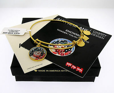 NWT Alex and Ani Snowman Man Charm Bangle Bracelet Shiny Yellow Gold SOLD OUT