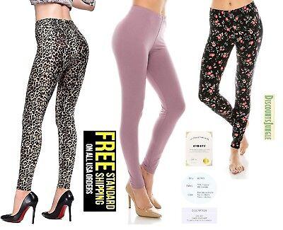 ALWAYS Women Basic Super Soft Stretch flower / leopard print Leggings ONE SIZE - Leopard Leggings