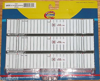 Athearn 26539 53 Stoughton Container 3 Pack Stax Hub Group White
