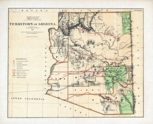 1876 Department Interior MAP Territory of Arizona Geographical political 11