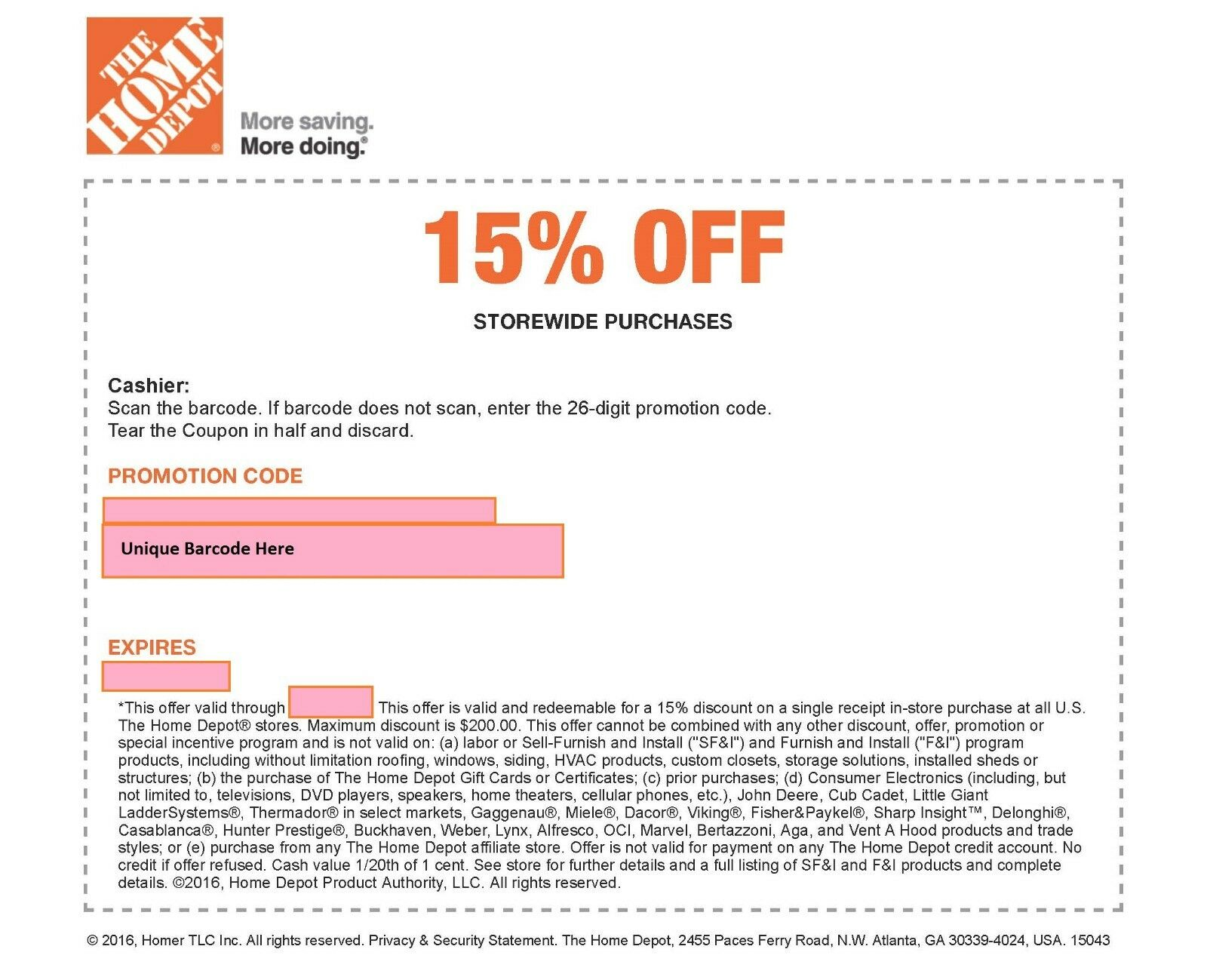 Купить ONE 1x Home Depot 15% Off-1coupon- In Store Only -saving 200$ max