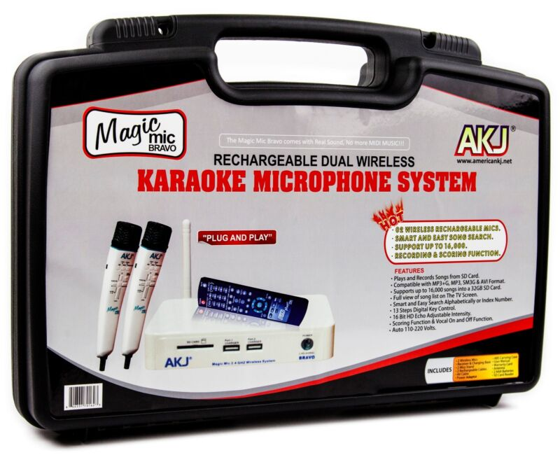 WIRELESS RECHARGEABLE KARAOKE MICROPHONE 8,000 SONGS ENGLISH & SPANISH