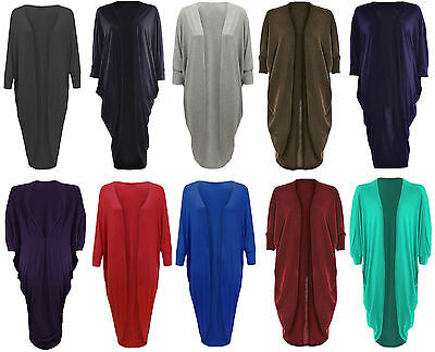New Ladies Girl Batwing Cardigan Womens Kimono Boyfriend Cocoon Maxi Open Front