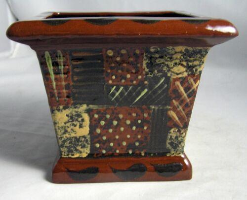 "2003 Eldreth Pottery HP Redware Planter Flower Pot  P.A. Folk Art  4 3/4"" EXC."