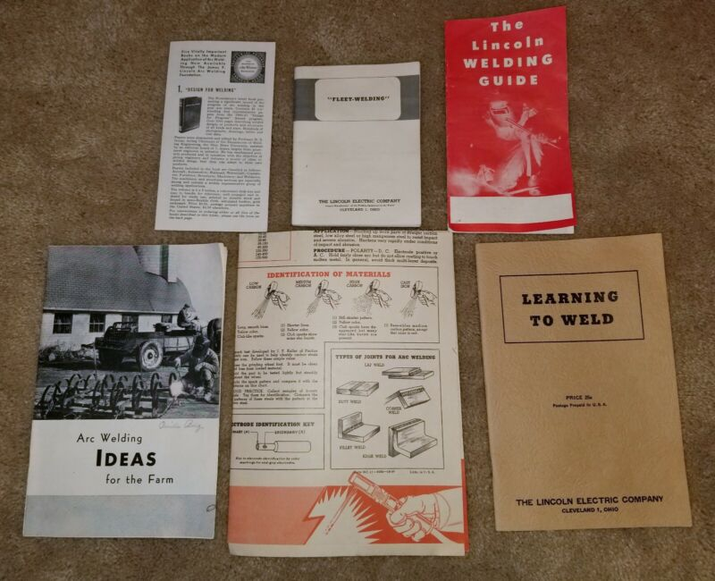 Vintage Mid Century Lincoln Electric Arc & Fleet Welding Manual Pamphlets