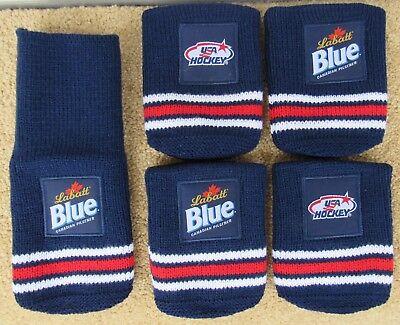 5 NEW Labatt Blue Beer USA Hockey Sock Coozies Koozie Cloth Adjustable 2 Sided