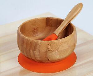 Kenley-Bambou-Bol-Ventouse-Bebe-Enfant-Vaisselle-Set-Repas-Assiette-et-Cuillere