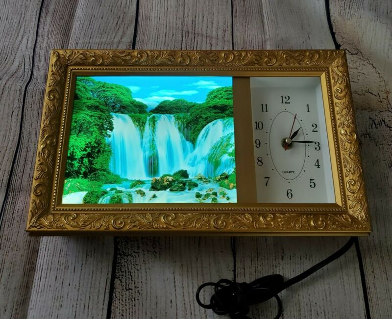Vintage Framed Light Up Motion Waterfall Moving Wall Art Electric Picture Clock