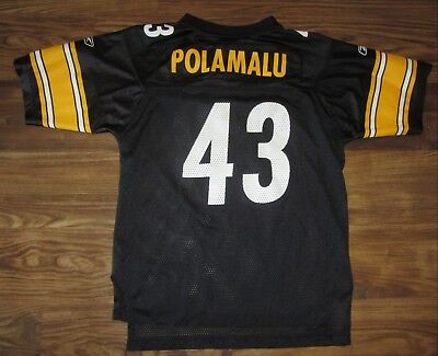 NFL Pittsburgh Steelers Troy Polamalu Boys Jersey, Black, Size L (14-16), EUC