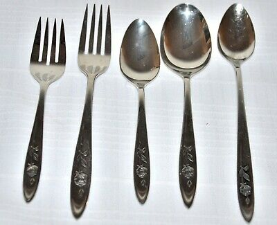 ONEIDA MY ROSE stainless dinner fork salad fork Spoons ice tea, teaspn, place