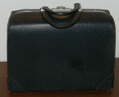 Vintage Leather Apothecary Medical Doctor 2 Handle Compartment Bag Carry Case