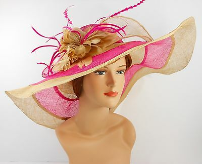 Church Kentucky Derby Wedding Party Sinamay Wide Brim Dress Hat 3033 Hot Pink