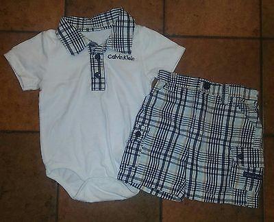 Cute Baby Boy Calvin Klein 2Pc. Plaid Outfit. Short/Creeper. Size: 6/9Months
