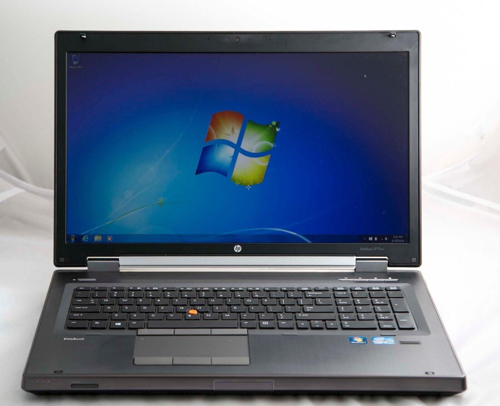 "HP EliteBook 8770w 17"" Core i7-3520M 2.9GHz 8GB 256GB SSD Webcam AMD/ATI Laptop"