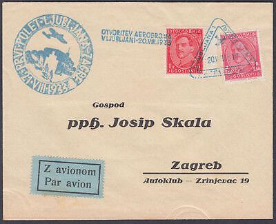 1933 Yugoslavia AIrmail Cachel / Triangular Cancel to Zagreb + Aerodrome Cachet