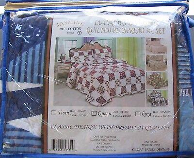 3 Piece Jasmine Reversible Quilt Set Queen Glory Home Design Bedspread Blue