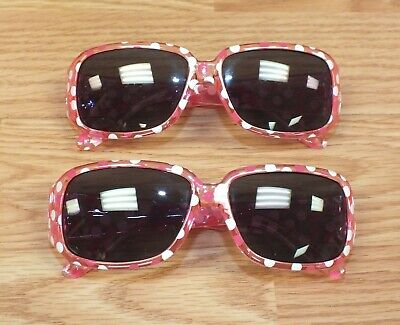 Set of 2 Best Friends / Twins Girls Pink Polka Dot Play Fashion Sunglasses *READ