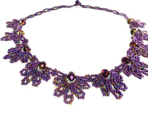 Ethnic Mexican Huichol Beaded Art Necklace Handmade Purple Boho Tribal Jewelry