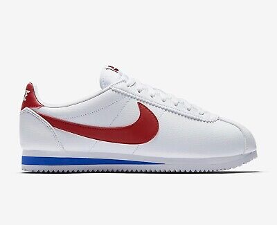 NIKE Mens CLASSIC CORTEZ Leather - White / Varsity Red Trainers - uk 6 - eu 40 -