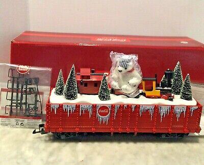 LGB 45730 COCA COLA CHRISTMAS HOLIDAY POLAR BEAR GONDOLA W/ MINI TRAIN SET IN B
