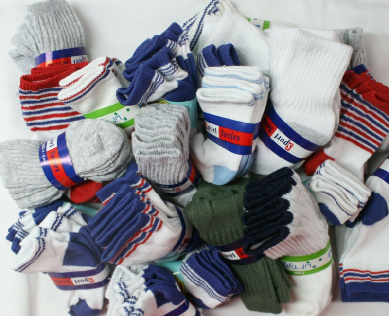TODDLER BOY SOCKS 12-36 Months Lot 12 Pairs Infant Baby Cotton 2T 3T