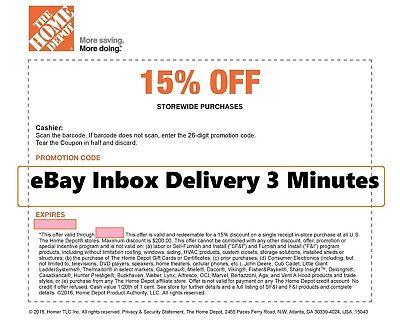 ONE 1X Home Depot 15% OFF Coupon -Instore ONLY Save upto $200 Very FAST-3mins--