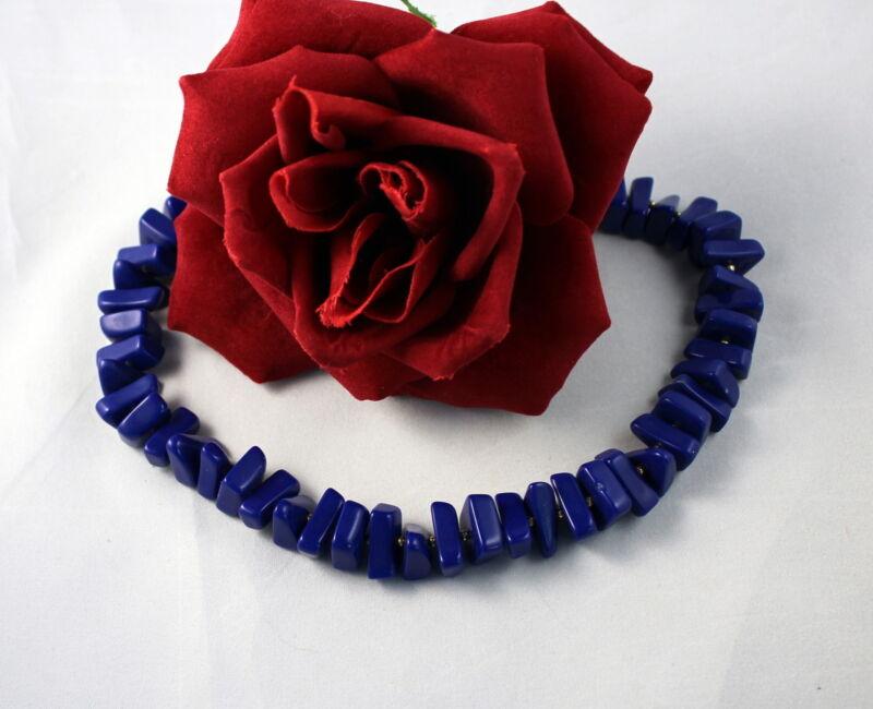 Vintage Trifari Vibrant Blue Beaded  Necklace CAT RESCUE