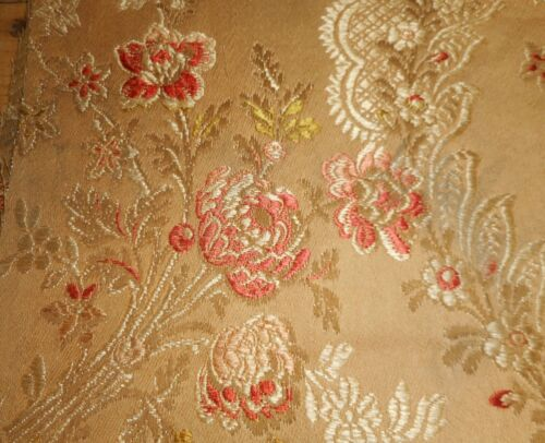 Antique 19thc French Floral Garland Silk Cotton Brocade Jacquard Fabric #2~ Aged