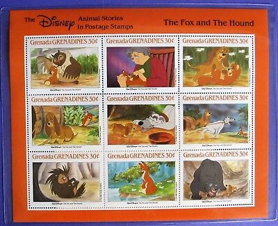 Fox and the Hound Disney Classic Fairytales Postage Stamps Grenada 30 Cents COA