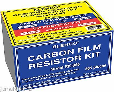 465pc Combo Capacitor And 12w Resistor Assortment Kit Elenco Rck-465