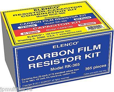 465pc Combo Capacitor And 12w Resistor Assortment Kit Elenco Rck-465