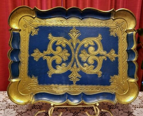 Vintage Ornate Blue & Gold Wood Tray Platter Hand Painted Made in Italy