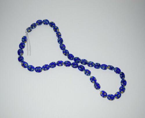 Lot 40 Venetian Glass Blue Millefiori Flattened Oval Shape Beads