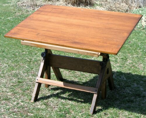 "1920s Vintage Industrial Hamilton Drafting Table Oak w/Maple Pivot Top 42"" x 31"""