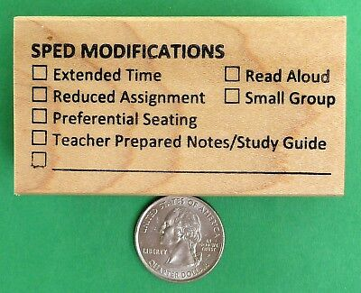 SPED Modifications, Teacher's Wood Mounted Rubber Stamp, Special Education