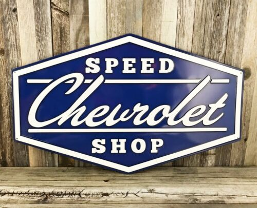 "Chevrolet Chevy Speed Shop Large Diamond 22"" Embossed Metal Tin Garage Sign New"