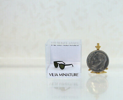 Dollhouse Miniature Handcrafted Black Sunglasses by Vilia Miniature of (Dollhouse Sunglasses)