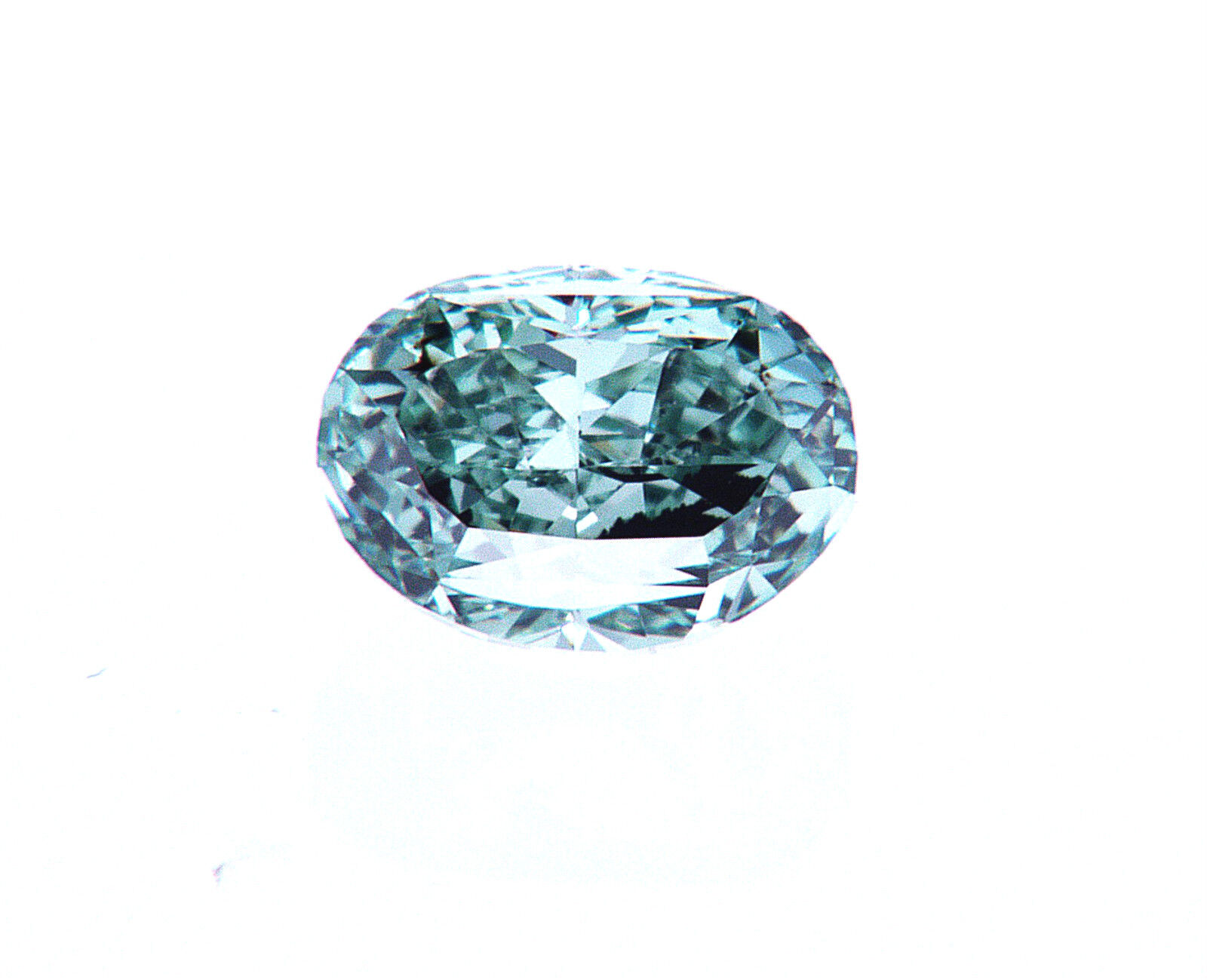 1/2 CT NATURAL FANCY VIVID BLUE GREEN COLOR GIA Certified Loose Diamond Oval Cut